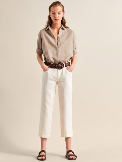 7cbea1042 STRAIGHT FIT PLAIN LINEN AND COTTON TROUSERS - Women - Massimo Dutti