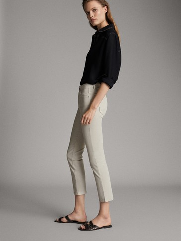 ASIAN FIT. MID-RISE SLIM CROPPED FIT RUBBERISED TROUSERS