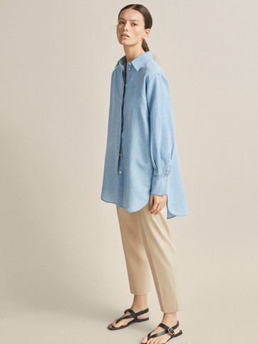PLAIN LINEN AND COTTON OVERSIZED BLOUSE