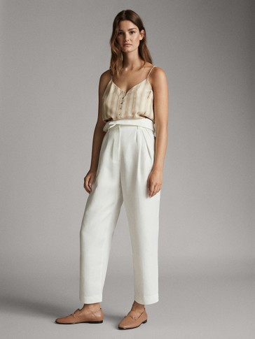 HIGH-RISE STRAIGHT FIT PAPERBAG TROUSERS