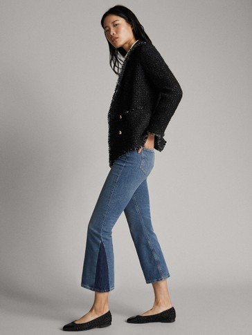 CROPPED JEANS WITH CONTRAST HEM