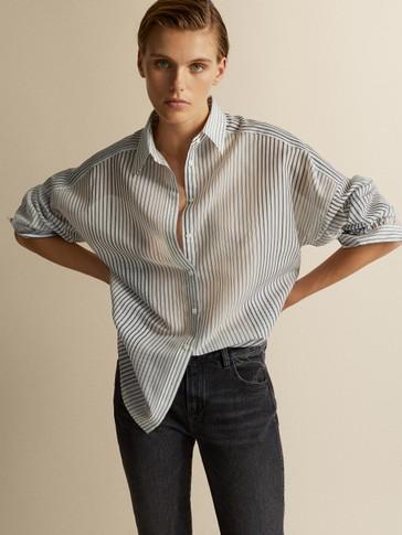 قميص مخطط من القطن والحرير