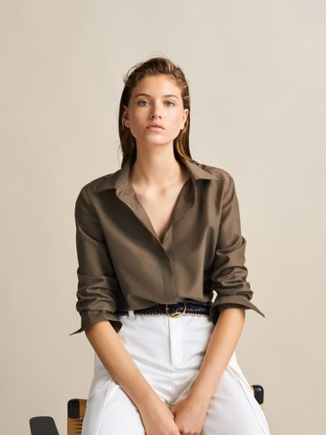 PLAIN COTTON AND SILK SHIRT