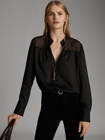 BLACK SHIRT WITH PLUMETIS YOKE DETAIL