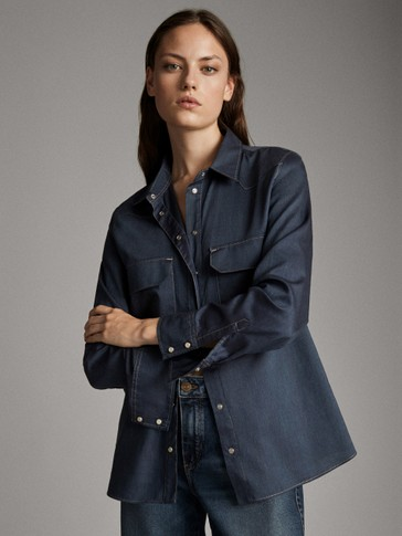 COTTON DENIM SHIRT WITH POCKETS