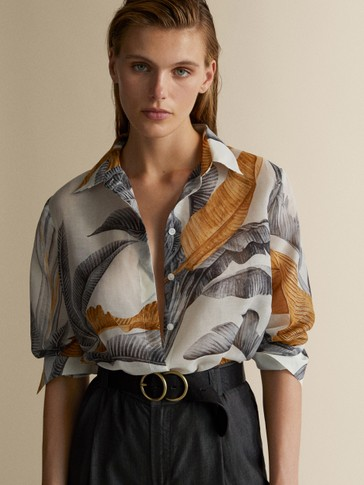 PALM LEAF PRINT COTTON/SILK SHIRT