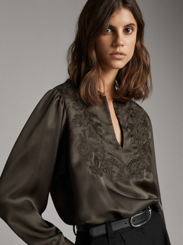FLORAL EMBROIDERED SATIN SHIRT