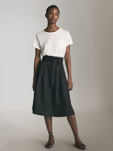 BLACK LYOCELL SKIRT WITH TIE BELT