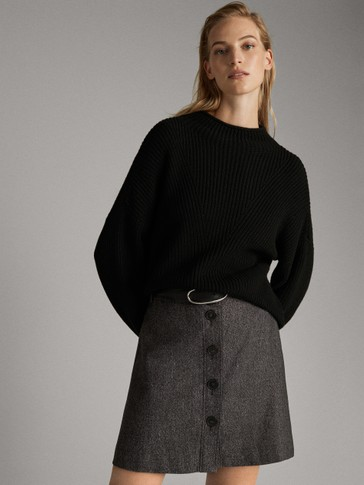 SHORT WOOL SKIRT WITH BUTTONS