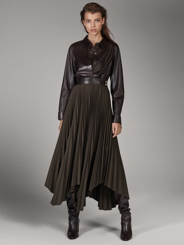 LIMITED EDITION PLEATED SKIRT WITH LEATHER BELT