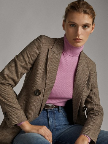 HIGH NECK SILK AND WOOL RIBBED SWEATER