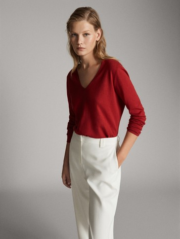 SILK WOOL SWEATER WITH ELBOW PATCHES