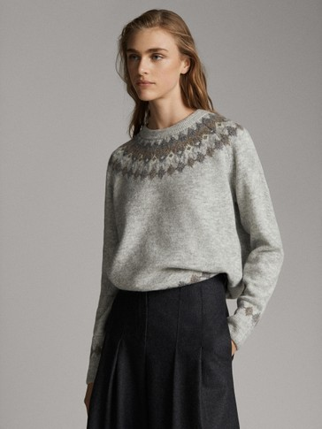 JACQUARDVÆVET SWEATER
