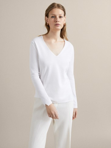 PLAIN GASSED COTTON SWEATER