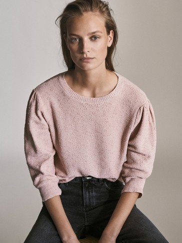 Knit Sweater With Puff Sleeves by Massimo Dutti