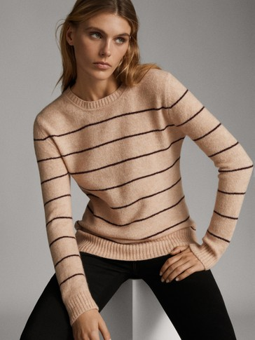 STRIBET SWEATER MED RUND HALS