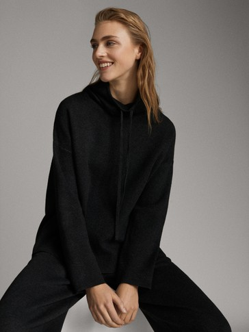 CAPE SWEATER WITH FUNNEL NECK