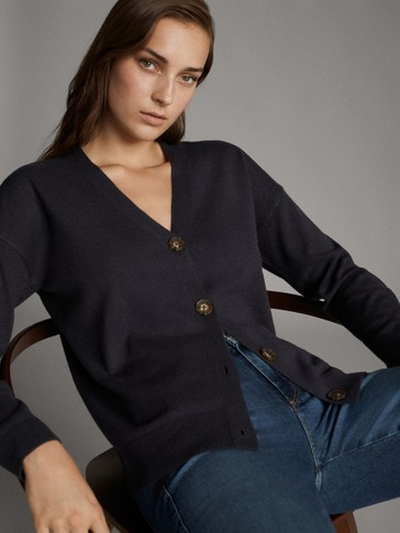 V-NECK WOOL CARDIGAN WITH BUTTONS