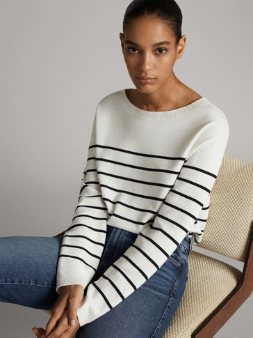 STRIPED CAPE SWEATER WITH BUTTONS