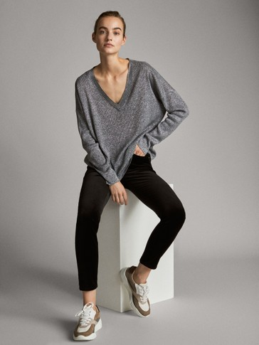 METALLIC V-NECK CAPE SWEATER