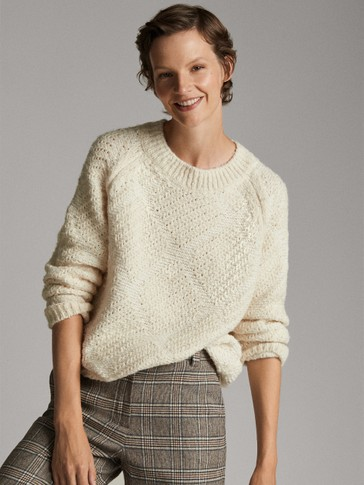 TEXTURED WEAVE CAPE-STYLE SWEATER
