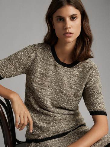 CONTRAST KNICKERBOCKER YARN SWEATER WITH SHORT SLEEVES