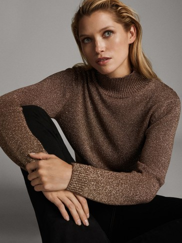 METALLIC THREAD HIGH NECK SWEATER