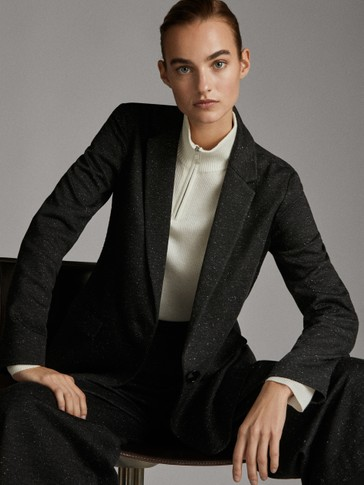 BLACK KNICKERBOCKER-YARN-EFFECT BLAZER