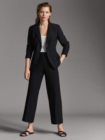 BLACK BLAZER WITH TOPSTITCHING
