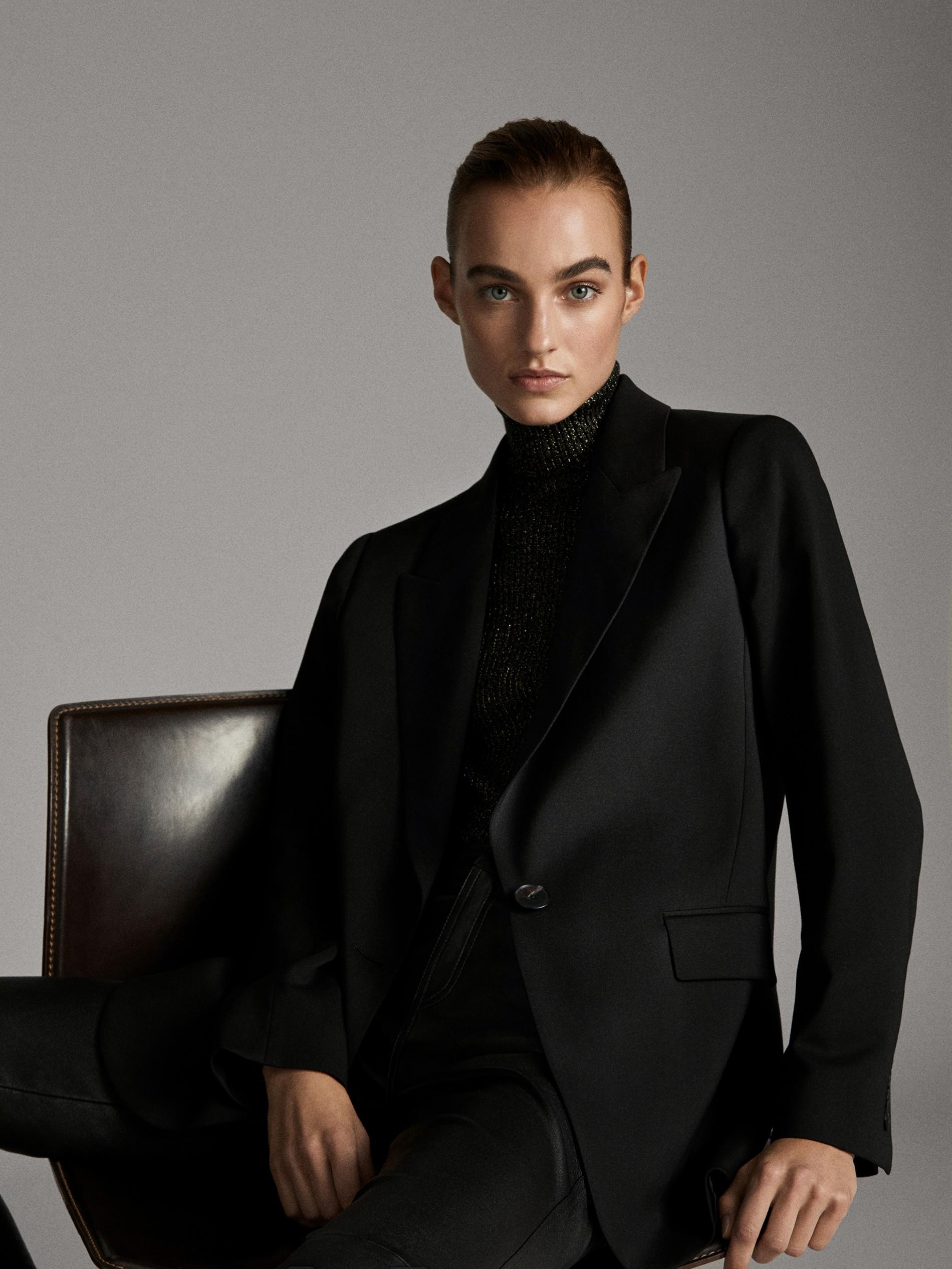 cappotto lana nero revers massimo dutti