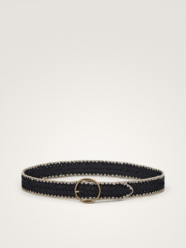 BRAIDED BLACK LEATHER BELT WITH CROCHET TRIM