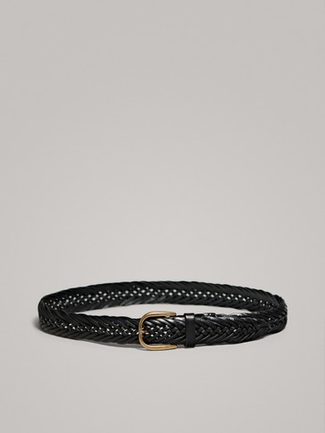 BRAIDED BLACK LEATHER BELT