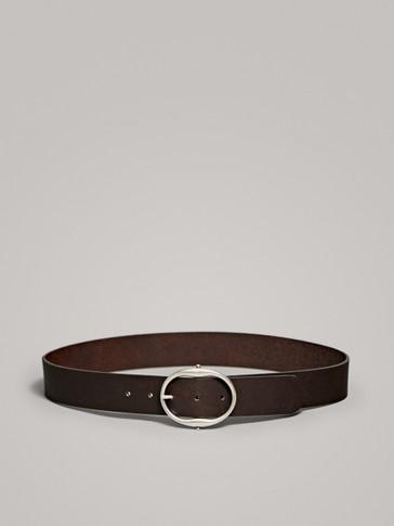 حزام جلدي بمشبك دائري