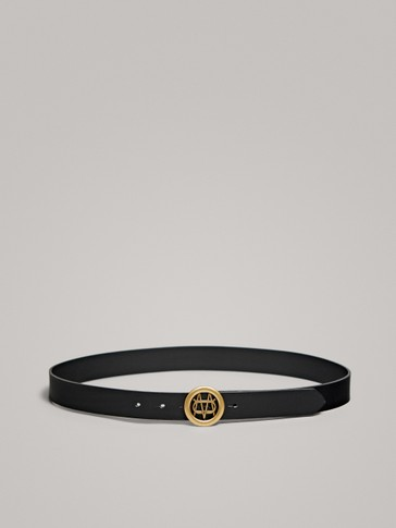BLACK NAPPA LEATHER BELT WITH LOGO