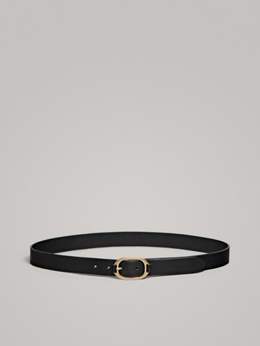 BLACK LEATHER BELT WITH METAL BUCKLE