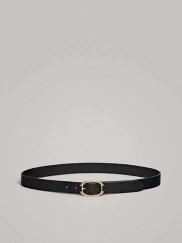 حزام جلدي أسود بمشبك معدني