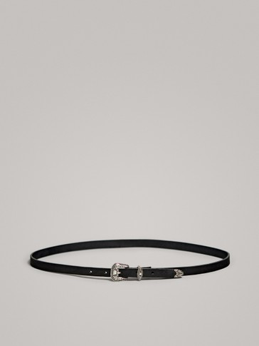 BLACK LEATHER COWBOY BELT