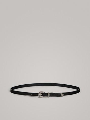 حزام جلدي أسود كوبوي