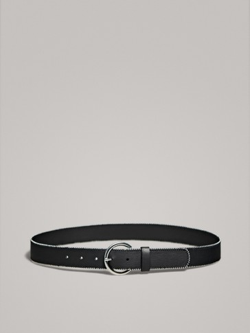 BLACK LEATHER BELT WITH METAL DETAILS