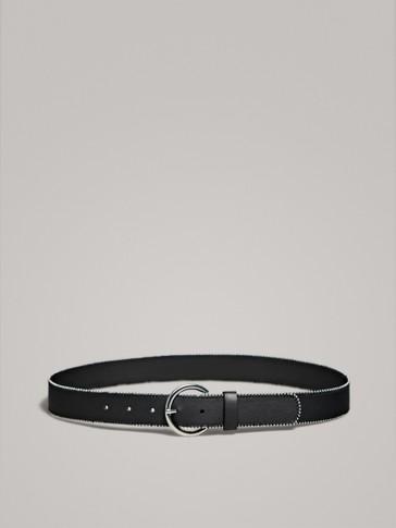 حزام جلدي أسود بتفاصيل معدنية
