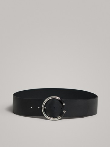 LEATHER BELT WITH LINED BUCKLE