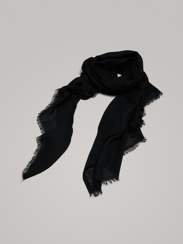 BLACK 100% WOOL SCARF