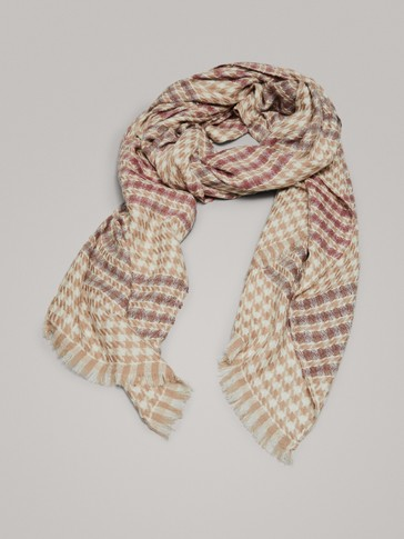 HOUNDSTOOTH 100% WOOL SCARF