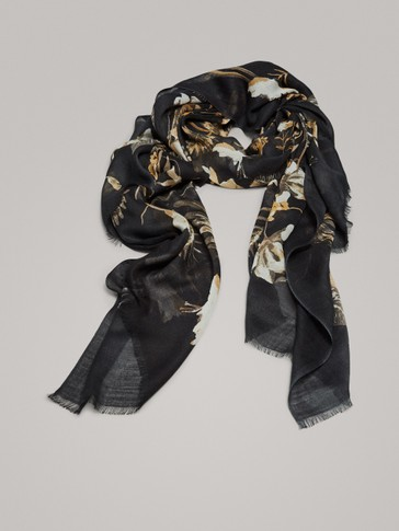 FLORAL PRINT WOOL AND MODAL SCARF