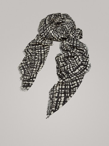 CHECK MODAL AND WOOL SCARF