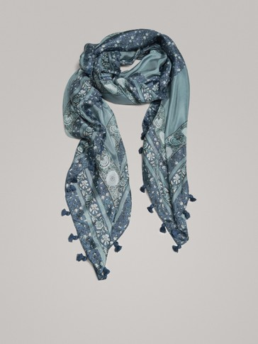 FLORAL PRINT SILK SCARF WITH TASSELS