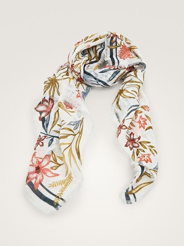 LEAF AND FLORAL PRINT LINEN SCARF