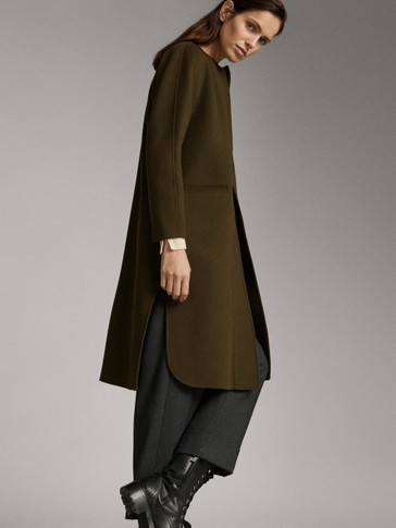 HANDMADE WOOL COAT WITH ROUND NECK