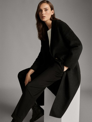 HANDMADE LONG SINGLE-BUTTON WOOL COAT