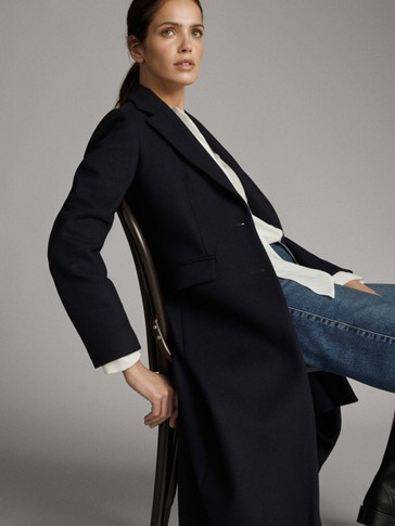 BUTTONED NAVY BLUE WOOL COAT